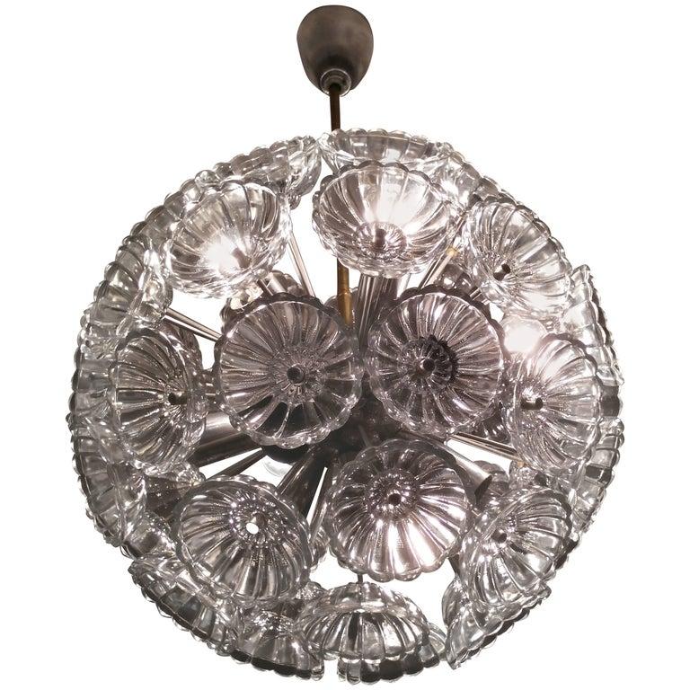 Midcentury Glass Dandelion Chandelier, Sputnik