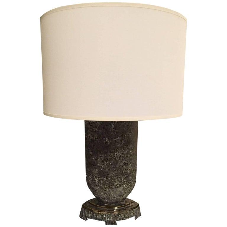 American Postwar Design Glazed Ceramic Black/Blue Lamp