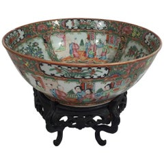 Antique Rose Medallion Bowl on Stand, circa 1880s