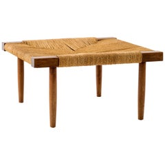 George Nakashima Fitch Stool / Ottoman in Walnut with Grass Cord Seat