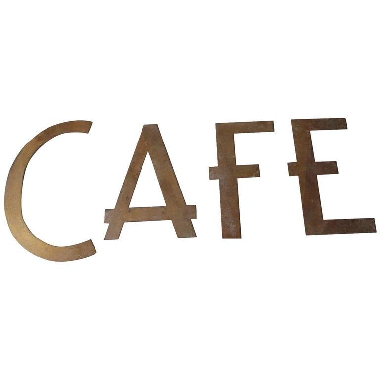 Vintage Brass CAFE Sign