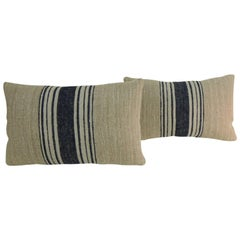Pair of 19th Century French Blue Stripes Decorative Lumbar Pillows