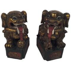 Postwar Pair of Carved Wooden Foo Dogs