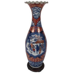 Large Scalloped Edge Porcelain Imari Palace Vase