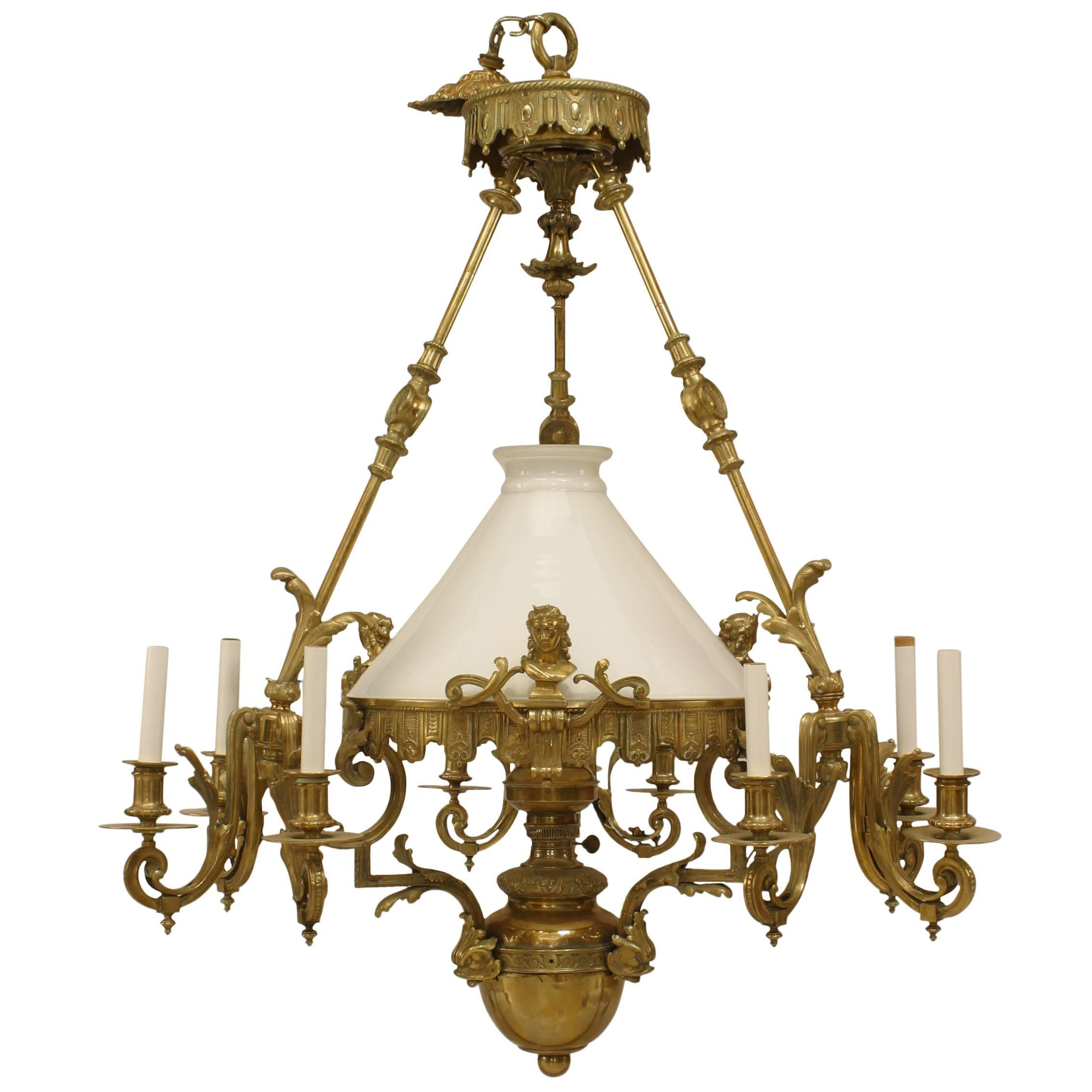 French Victorian Bronze Converted Gas Foliate Chandelier