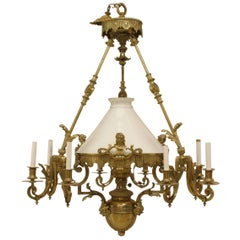 French Victorian Bronze Nine-Light Converted Gas Chandelier