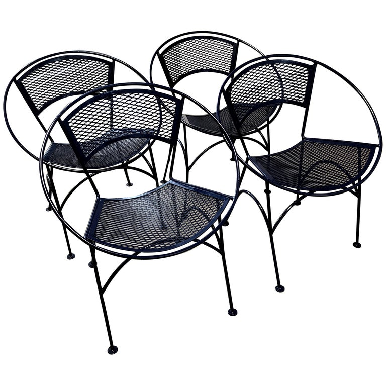 S 4 Mid Century Modern John Salterini Wrought Iron Navy Blue Radar Patio Chairs For