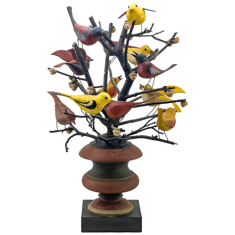 Carved and Painted Colorful Bird Tree
