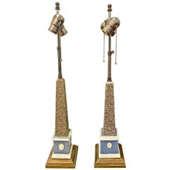 Pair of Early 19th Century Pearlware Obelisks, Assembled