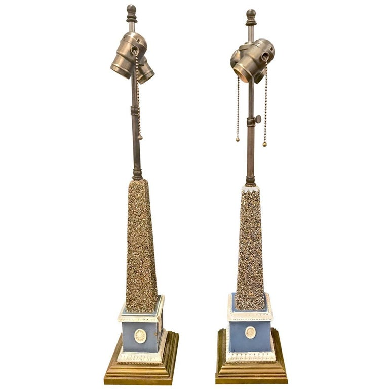Pair of Early 19th Century Pearlware Obelisks, Assembled For Sale