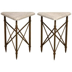 Pair of Neoclassical Bronze and Travertine Drinks Tables