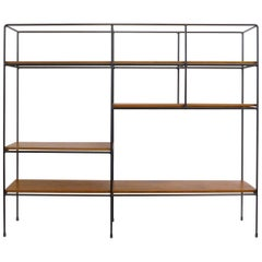 Iron and Wood Mid-Century Modern Shelving Unit by Muriel Coleman