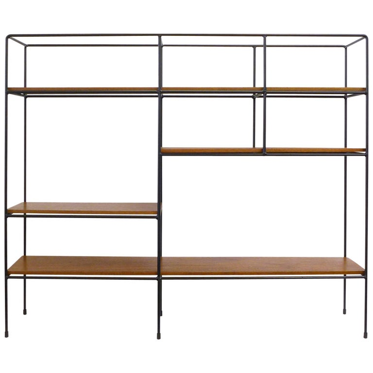 Iron and Wood Mid-Century Modern Shelving Unit by Muriel Coleman For Sale
