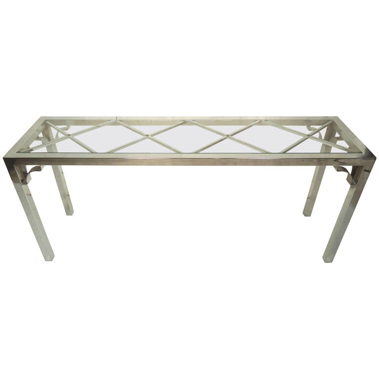 Chrome Console Table with Glass