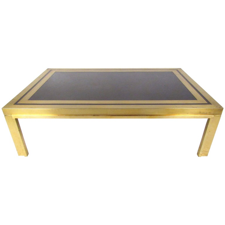 Large Mid-Century Brass Coffee Table Attributed to Mastercraft