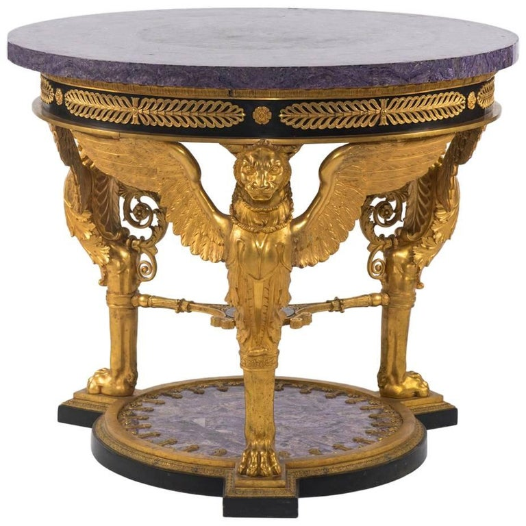 Empire Style Gilt Bronze Tessellated Amethyst Center Table