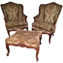 French Three-Piece Carved Walnut Duchesse Brisee