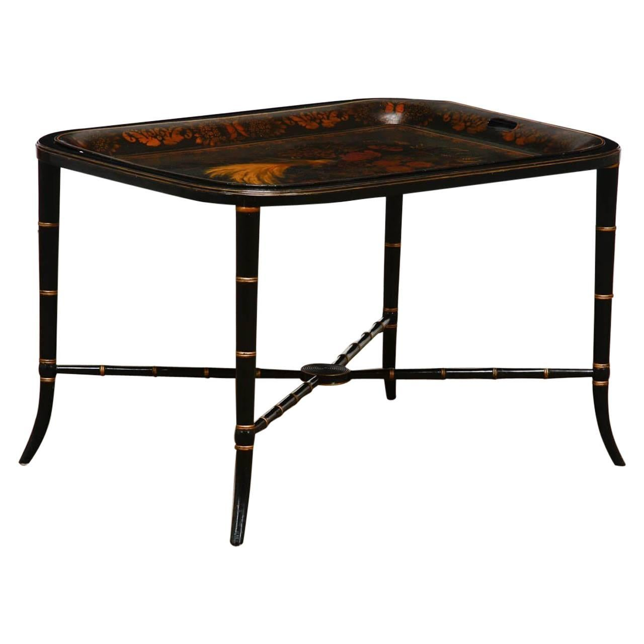 Regency Style Faux Bamboo Painted Tole Tray Table