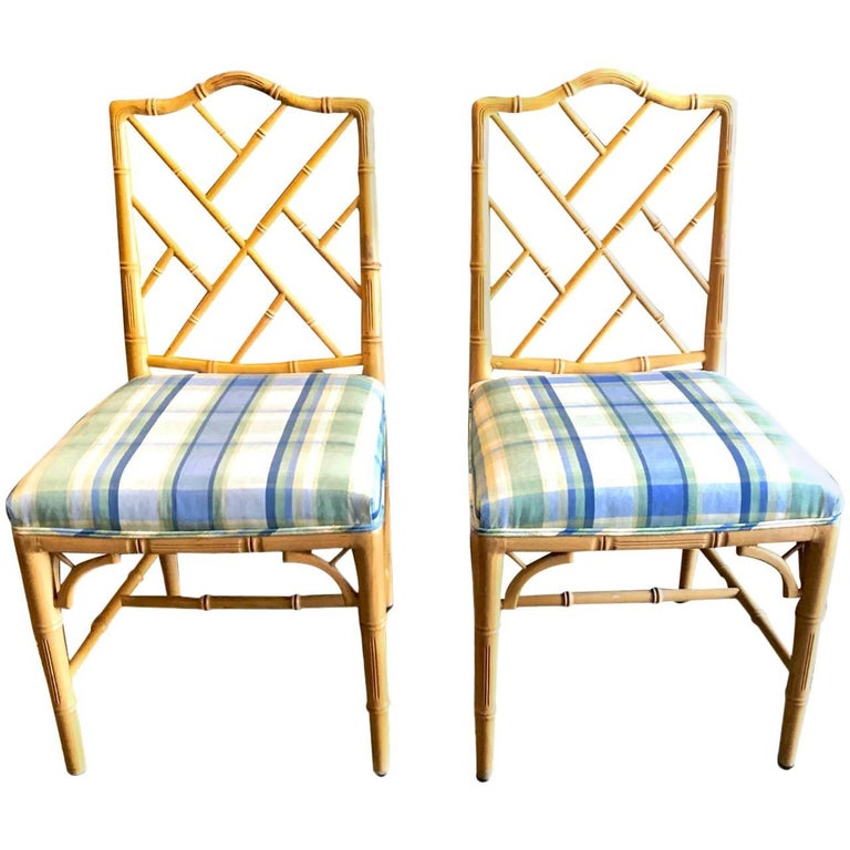 Faux Bamboo Chinese Chippendale Dining Chairs, Set of 4