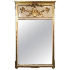 Early 1900s French Parcel-Gilt Trumeau Mirror