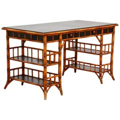 English Chinoiserie Style Bamboo Desk by Milling Road for Baker