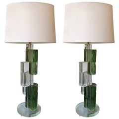Contemporary Pair of Lamps Cubic Murano Glass, Italy