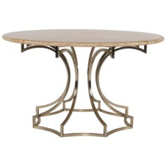 Italian Steel and Travertine Center Table