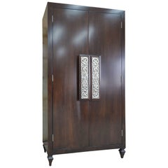 Custom Maple Cabinet with Silver Leaf Door Pulls