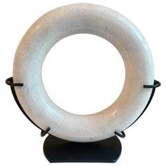 Marble Circular Disk Sculpture in Custom Metal Stand