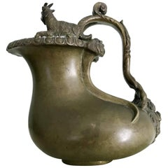 Italian Grand Tour Bronze Askos Ewer after the Roman Antique Original