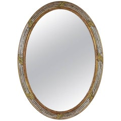 French Louis XVI Giltwood Oval Wall Mirror