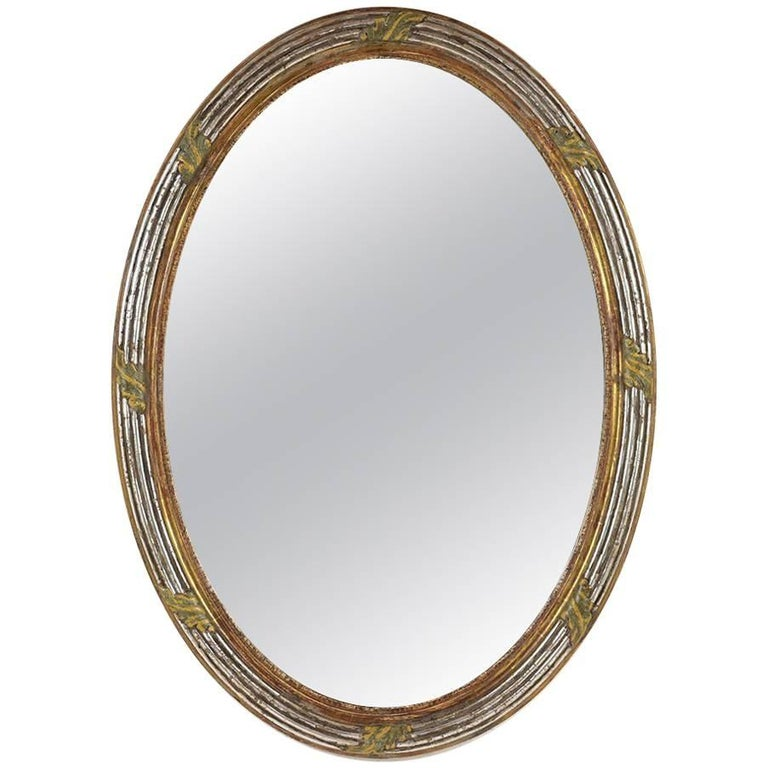 French Louis XVI-Style Carved Giltwood Oval Wall Mirror