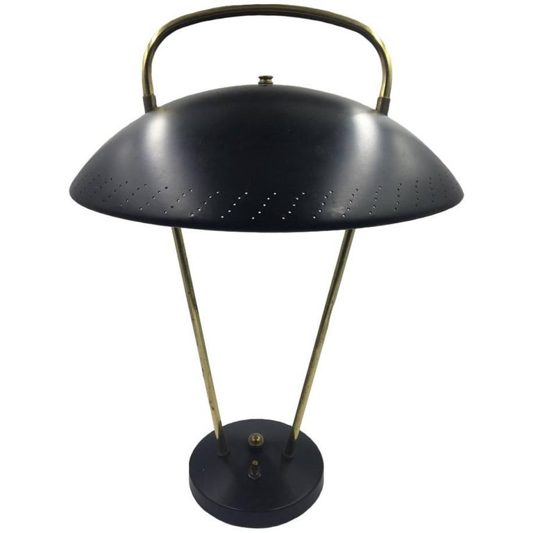 Midcentury Brass Table Lamp with Adjustable Perforated Shade
