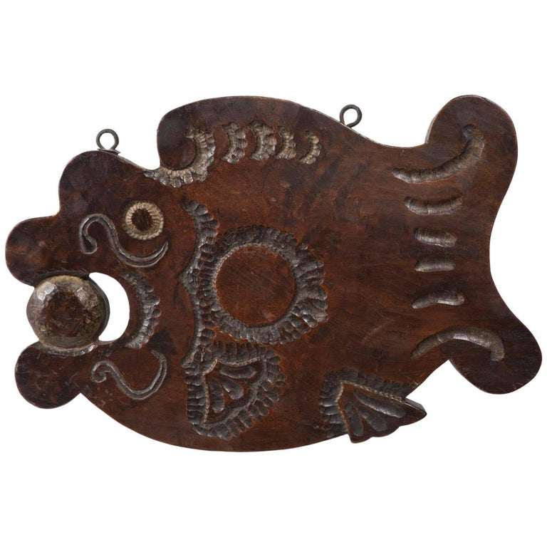 Early 20th Century Carved Wood Buddhist Temple Gong, Korea