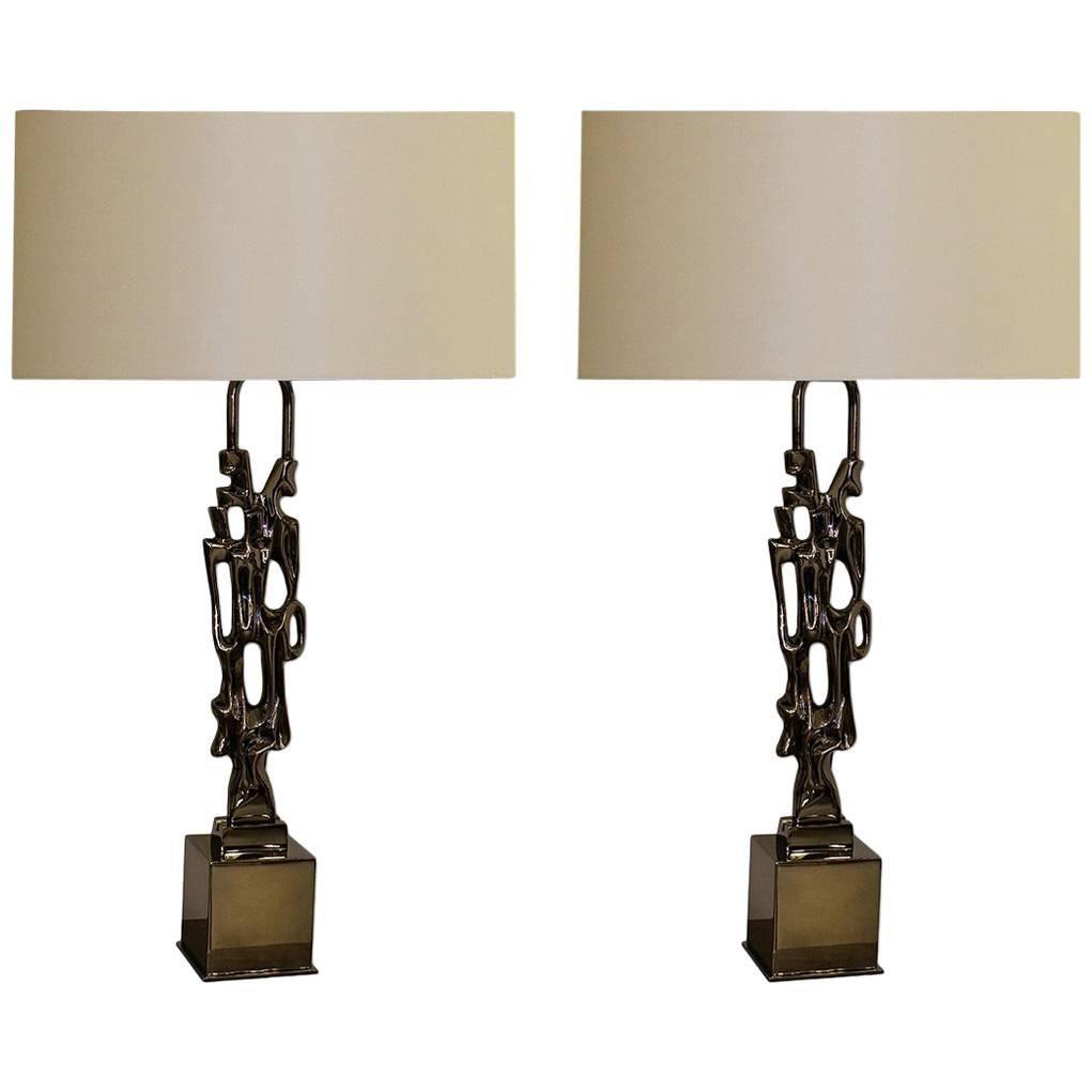 Ph. Glapineau Pair of Black Nickel Bronze Table Lamps