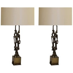 Ph. Glapineau, Pair of Black Nickel Bronze Table Lamps