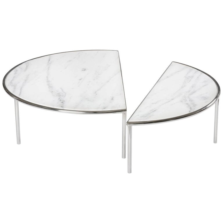 Contemporary Split Center Table by RAIN in Stainless Steel and White Marble