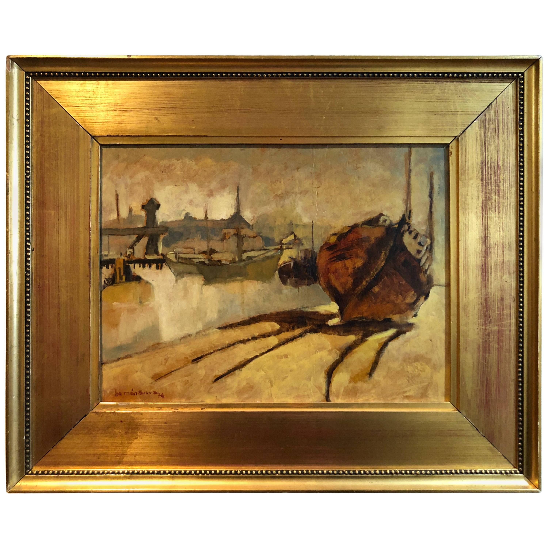 Hernan Silva Oil Impressionist on Board of Waterfront