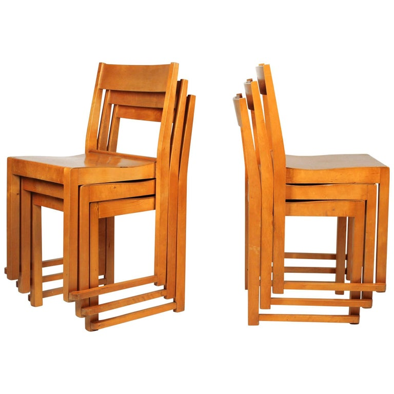 Sven Markelius Helsingborg Theater Birch Dining Chairs For Sale