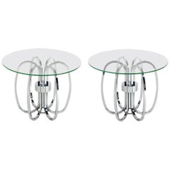 Pair of Sculptural Chrome Loop Tables