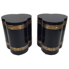 Pair of Bernhard Rohne Acid Etched Side Tables for Mastercraft
