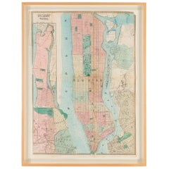 Hand-Colored Antique Map of Manhattan and Parts of Brooklyn, 19th Century