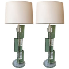 Contemporary Pair of Lamps Cubic Murano Glass and Brass