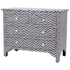 Inlaid Bone Four-Drawer Chest with Chevron Pattern