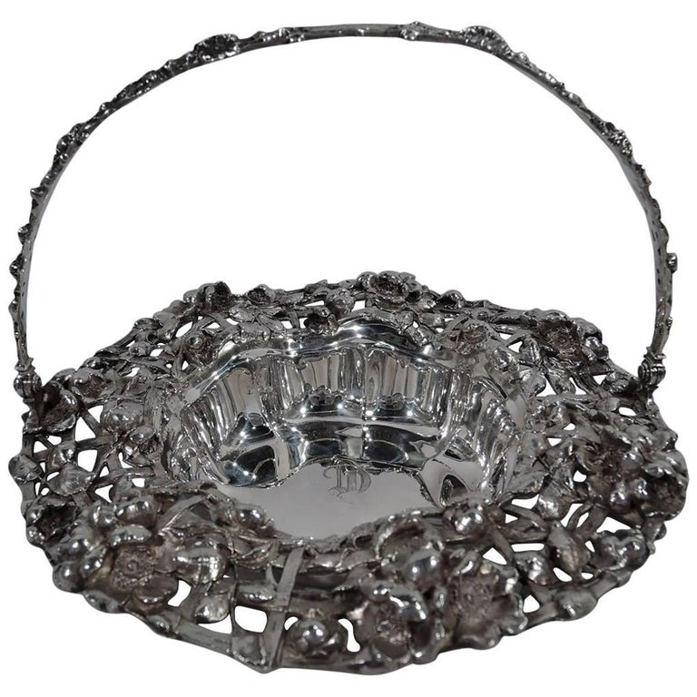 Antique American Art Nouveau Sterling Silver Flower Basket For Sale