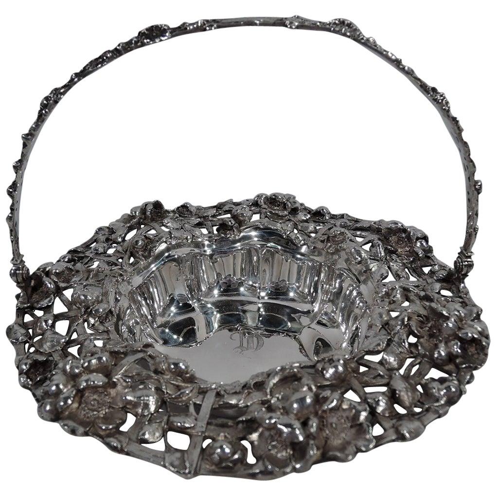 Antique American Art Nouveau Sterling Silver Flower Basket
