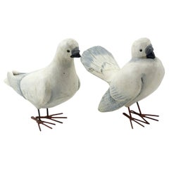 Pair of Folky Carved Doves