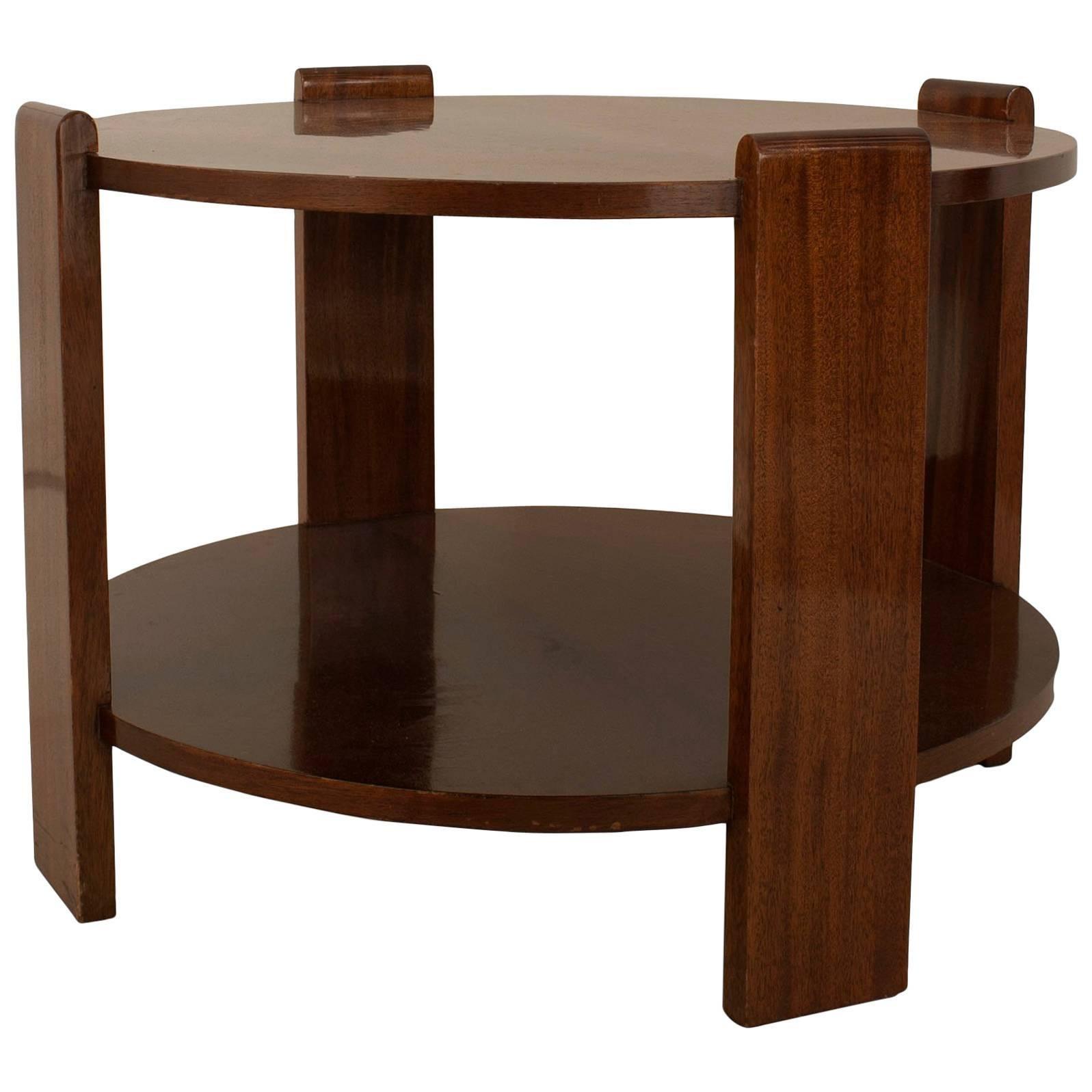French Art Deco Mahogany Round Coffee Table