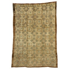 Vintage Turkish Oushak Rug with Art Deco Style and Neutral Colors