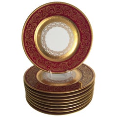 Set of Eight Service Plates Red with Gold Trim by Wheeling